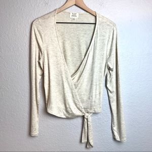 Project Social T Long Sleeve Faux Wrap Blouse